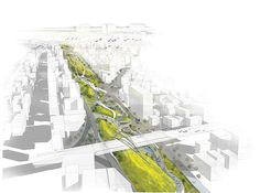 Renderings developed for the 2013 Seoul Urban Design Competition. This work is part of a group project. Landscape Diagram, Urban Landscape, Urban Architecture, Sustainable Architecture, Architecture Graphics, Design Poster, Poster Layout, Graphic Design, Green Corridor