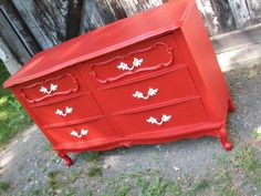 Tuesday's Treasures – Vintage Teal Hutch and Red French Provincial Dresser Baby Girl Dresser, Red Dresser, Dresser Ideas, Paint Furniture, Furniture Makeover, Restoring Furniture, Refinished Furniture, Nursery Inspiration, Furniture Inspiration
