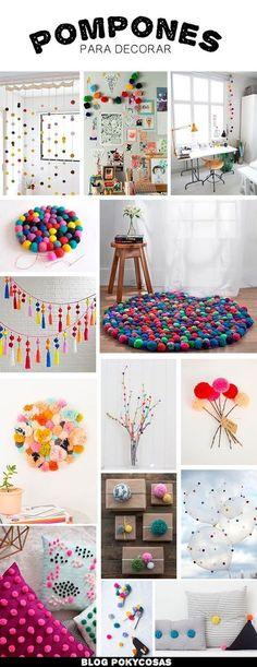 Decorating with Pompoms / Pompones para decorar / DIY home decor ideas Home Crafts, Diy And Crafts, Crafts For Kids, Fall Crafts, Holiday Crafts, Diy Y Manualidades, Diy Casa, Pom Pom Crafts, Diy Pom Pom Rug