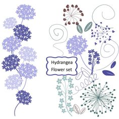 50% off Spring Sale Wedding Hydrangea Clipart in Heather, Flower graphics -Clip art  for scrapbooking, invitations, cardmaking, on Etsy, $1.75