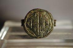 1210 A.D Medieval Bronze Knight #Templars Ring Bearing #Jerusalem Cross