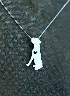 This sweet Boxer necklace represents all that we love about this fantastic breed! Each piece is cut with a jewelers saw and soldered by hand.