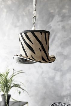 Zebra Top Hat Pendant Light Mad About The House, Rockett St George, Ceiling Pendant, Pendant Lighting, Home Lighting, Kitchen Lighting, Cow Hide Rug, Gold Accessories, Zebras