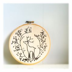 Embroidery hoop art . Deer embroidery . Hoop Art . Embroidery design . Forest . Cerf . Black Hoop Art . . $75.00, via Etsy.