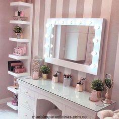 Bedroom Decor For Teen Girls, Girl Bedroom Designs, Room Ideas Bedroom, Small Bedroom Hacks, Girl Bedrooms, Dream Bedroom, Dressing Table Decor, Dressing Table Mirror, Dressing Tables
