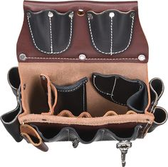 This leather case is truly a work of industrial art. All leather belt worn commercial electricians case with 25 pockets and tool holders that accommodate all your tools. Tool Belt Suspenders, Leather Suspenders, Leather Tool Belt, Leather Tooling, Electrician Tool Pouch, Occidental Leather, Tool Belt Pouch, Leather Projects, Leather Crafts