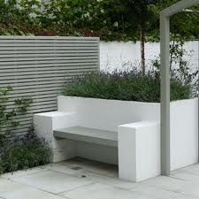 contemporary bench w/planter and fence