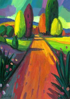 Camino de cipreses | Guillermo Martí Ceballos Pintor Fauvista y Expresionista