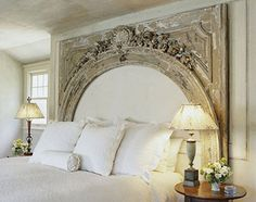 arch as headboard with upholstery within the arch! Gorgeous!