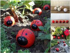 DIY Cute Golf Ball Ladybugs #DIY #craft #garden