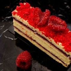 This raspberry Opera cake looks stunning with its layers of lemon soaked Joconde, vanilla buttercream and raspberry pink pepper marmalade! Shared by Career Path Design. Raspberry Lemonade Cake, Coconut Flan, Cake Recipes, Dessert Recipes, Dessert Ideas, Sweet Recipes, Opera Cake, Lemon Syrup, Tall Cakes