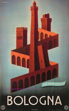 Illustration italienne : affiche de tourisme, Bologne, architecture médiévale, brique rouge
