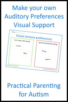 Looking for a Visual Support to help your child or teenager with #autism regulate their Sensory Auditory Preferences? Download this Visual Support activity today from Practical Parenting for Autism