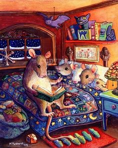 Kim Parkhurst, Bedtime illustration, signed print offered at her Etsy site, Toadbriar. Art And Illustration, Illustration Mignonne, Book Illustrations, Bedtime Reading, Reading Time, Cute Mouse, Beatrix Potter, Sign Printing, Bedtime Stories