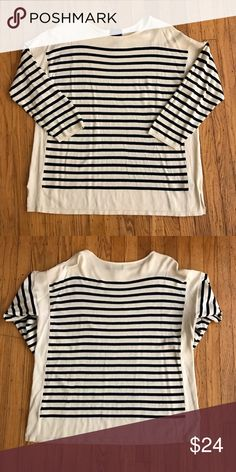 Chaps by Ralph Lauren Women's Crewneck Sweater 2X Women's Plus Size Cream and Navy Blue Crewneck Striped Sweater, Size 2X.  This soft and cozy sweater will look great with leggings, pants, Jeans and boots! Has color blocking ivory sides. EUC- no rips, snags or stains. Chaps Sweaters Crew & Scoop Necks