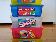 If your family plays a lot of card games like mine – you probably have a drawer stuffed with them. The problem is that the packaging will start to fall apart sooner or later and some of the cards might get lost. Transforming baby wipes containers into card came containers is a great idea because it keeps all of the card game pieces together, they stay clean and the containers are easy to stack in your game closet. -