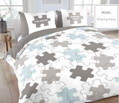 Nowoczesna pościel biała w niebiesko szare puzzle