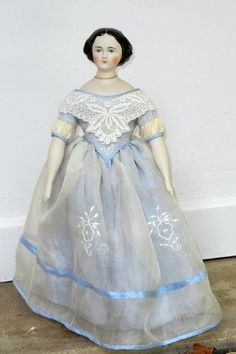 """14 1 2"""" Jenny Lind Parian China Head Doll Flowers in Hair 1860 Repro Silk Gown 