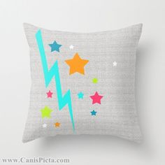 Bright Stars Lightening Bolt Throw Pillow 16x16 by CanisPicta, $35.00  Bright Stars Lightening Bolt Throw Pillow 16x16 Graphic Print Art Cover Decorative Grey Colorful Orange Blue Pink Hot Pink Neon Teal Chartreuse White Lime Green Yellow