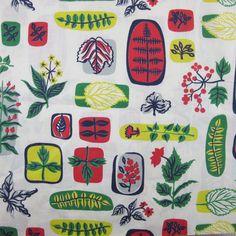 1950s Mid Century Botanical Print - A Piece of Cloth Vintage Fabric Merchants