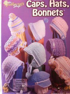 crochet pattern for baby caps hats bonnets 475