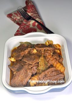 Beef Asado is a tomato based beef dish that originated from Central Luzon. This is an awesome recipe that you can prepare during ordinary days. Note that this dish is different from the sweet Chinese asado.  The cut of the beef that you will use plays an important role in the success of this dish. Lean parts are good, but it is better to use cuts