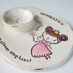 We'll need this sooner than later...  Tooth Fairy Pillow Dish Girl. $35.00, via Etsy.
