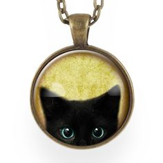 """Checkout this adorable little peeking kitty cat necklace! Great for Halloween or cat lovers! So cute! =^.^= - Pendant size: 1"""" inch (25 mm) - Chain length: 24"""" inches - Art print sealed under smooth g"""