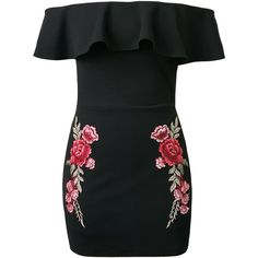 Black Off Shoulder Ruffle Embroidery Floral Patch Bodycon Dress ($36) ❤ liked on Polyvore featuring dresses, off shoulder dress, embroidered dress, bodycon dress, body con dresses and embroidery dresses
