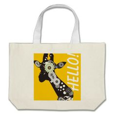 Funky Paisley Giraffe Custom Cool Jumbo Tote Bags: Wild Animal Cute and Funny Design: More Styles Available