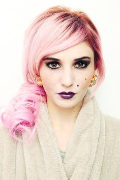 Platinum pink hair! ... audrey kitching, pink hair, plum lips, plum lipstick, dark lipstick, glamorous, edgy, dark, smoky eyes, purple smoky eyes, dark eyes, angela sarracino, makeup artist, makeup tutorial