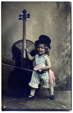 *The Graphics Fairy LLC*: Old Photo - Cute little Girl with Top Hat - Cello