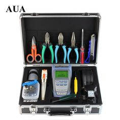 FTTH fiber optic tool sets Optical Power Meter Visual Fault Locator 10MW AUA-30S cleaver Strippers Kevlar Scissors