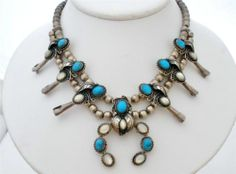 Vintage Turquoise Squash Blossom Necklace Sterling Silver MOP Naja Hogan Beads   eBay