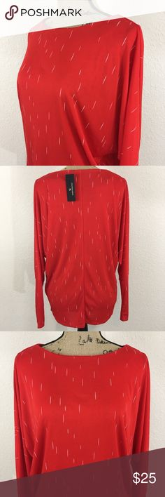 Worthington Fiery Red White Speckles Top SZ L NWT Worthington Fiery Red White Speckles Top Blouse Size Large NWT Style: Long Sleeve Top However Made to Push Up To 3/4 Sleeve  Color: Red and White  Size: Large Neck Opening: 11 Inches   Length: 25 Inches Sleeve: 27 Inches Worthington Tops