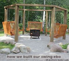 Gazebo with fire pit plans octagon swing fire pit fire pit swing gazebo octagon swing fire . gazebo with fire pit Fire Pit Swings, Diy Fire Pit, Fire Pit Backyard, Bed Swings, Fire Pits, Outdoor Fire, Outdoor Living, Outdoor Decor, Outdoor Benches