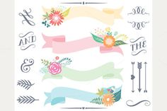 Check out Clipart - Vintage Floral Banners by MyClipArtStore on Creative Market
