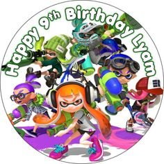 EDIBLE Splatoon wafer cake topper birthday party personalized Nintendo game