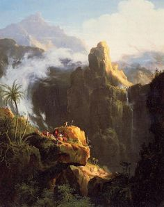 """""""Composition Paysage, Saint-Jean dans le désert"""", huile de Thomas Cole (1801-1848, United Kingdom)"""