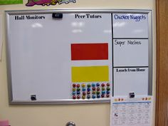 Controlling My Chaos: Back to School and a Classroom Tour, lots of great classroom ideas, along with this one-- lunch count, attendance, and behavior all in one white board Classroom Setting, Classroom Setup, Future Classroom, School Classroom, Classroom Helpers, Classroom Board, Classroom Procedures, Classroom Behavior, Classroom Design