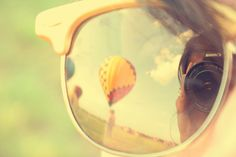 reflection, mirrored sunglasses, hot air balloons, color, vintage feel