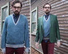 "80s J'ma Plum PULLOVER SWEATER Vintage ""V"" Neck Orlon Knit TOP Grey - Blue Sport…"