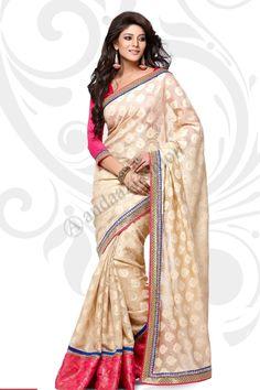 Crème Jacquard Manipuri Saree design n ° DMV7557 Prix: - 49,20 € Type de robe: Saree Tissu: Jacquard avec Manipuri Couleur: Décoration: crème brodé, Plaine Pallu Pour plus de détails: - http://www.andaazfashion.fr/cream-jacquard-manipuri-saree-with-orange-pink-jacquard-blouse-dmv7557.html
