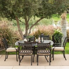 Belham Living Palazetto Cast Aluminum Square Patio Dining Set - Seats 8 - Patio Dining Sets at Hayneedle Outdoor Dining Furniture, Patio Dining, Outdoor Decor, Aluminum Patio, Dining Sets, It Cast, Live, Design, Home Decor