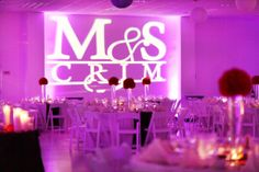 Purple uplighting by SG Mobile DJ - Red and Purple Clearwater Beach Rec Center Wedding – Clearwater Wedding Planner Special Moments