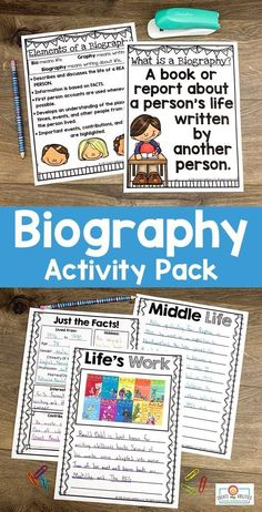 Use this biography pack to teach note taking, research, writing, & more. Your 2nd, 3rd, 4th, and 5th grad eustdnets will be engaged in learning about others' lives. You get posters, organization pages, hands-on interactive activities, easily differentiated pages, and more. This download is a great way to cover a variety of content areas for one great culminating project. Grab it today to use with your second, third, fourth, or fifth graders. #Biography #2ndGrade #3rdGrade