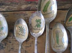 Recycled silverware garden markers