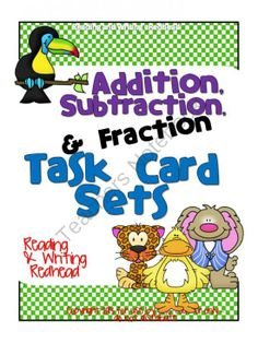 Brand new and HALF OFF the 1st 48 hours!  - Spring Fractions Task Cards combined with my Addition and Subtraction Task Cards ( 1 and 2 digit, color and black and white) which was originally found in my Animals and Habitats Math and Language Arts Mega Pack.  Great for centers for 1st, 2nd and 3rd gr