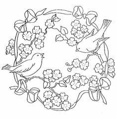 pájaros y flores. redondo