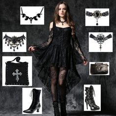 Dark in Love Gothic Ghost Dovetail Lace Dress with Button Front Detail  Outfit idea based on this stunning black lace gothic mini dress which has a row of black lace covered buttons down the front and long black train at the back. There are shoulder cut outs at the top of the flared sleeves which are laced with black cord. The back of the dress also has corset style cord lacing. A stunning addition to any gothic wardrobe.